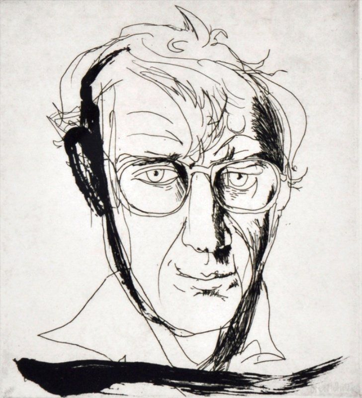 BRETT WHITELEY (1939-1992) AUSTRALIAN Portrait of a man. Print. 9 x 8ins.