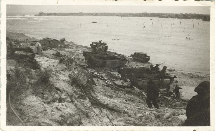 The beach on Walcheren Island during the Battle of the Scheldt, c. November 1944