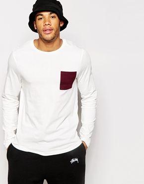 ASOS - T-shirt à manches longues avec poche contrastante