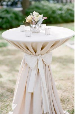 Cocktail Hour High Top Tables- love bow  taupe linen  succulents on high tables & candles. Add aqua or turquoise here