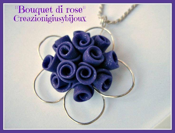 Collana con ciondolo viola glitter Bouquet di roselline  fatto a mano in pasta di fimo, by Creazioni Giusybijoux, 18,00  su misshobby.com