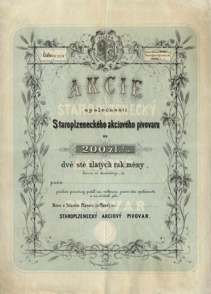 Staroplzenecký akciový pivovar (Altpilsenetzer Bräuhaus AG.). Akcie na 200 Zlatých. Starý Plzenec u Plzně, 1872.