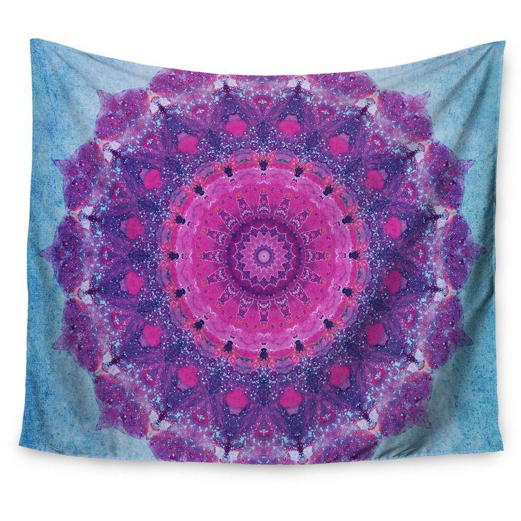 "Purple Blue Iris Lehnhardt Grunge Mandala Wall Tapestry (51""x60"") - Kess InHouse, Green"