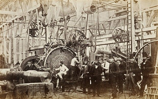 An 1863 photograph showing one of the two John Penn & Sons factories at either Greenwich or Deptford. The owner of the factories, which made ships' boilers and engines, is probably the figure standing centre right with his hands in his pockets.  Picture: 'Dickens's Victorian London' by Alex Werner and Tony Williams
