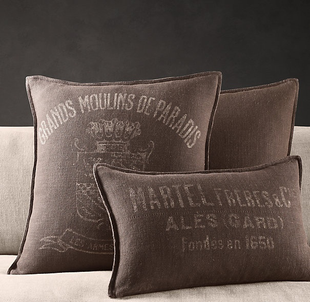 Vintage French Mill Linen Pillow Covers from Restoration Hardware - perfect colours for my bedroom!