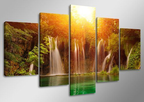 Quadro su tela waterfall 160 x 80 cm 5 tele modello nr XXL 5503. I quadri sono montati su telai di vero legno. Stampa artistica intelaiata e pronta da appendere di Visario, http://www.amazon.it/dp/B00ADSYAF0/ref=cm_sw_r_pi_dp_uWgnsb1C7W11M