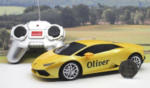 PERSONALISED NAME GIFT Radio Control Yellow 1/24 Lamborghini Boxed