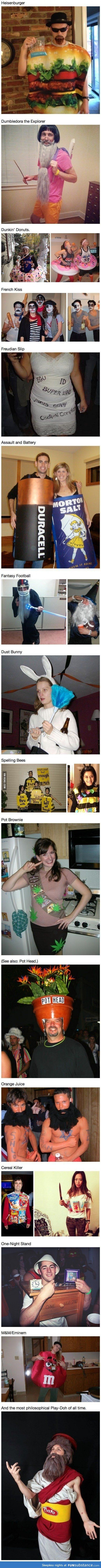 Some of these punny costume ideas are inappropriate but some are great. I love the Plato costume at the end.