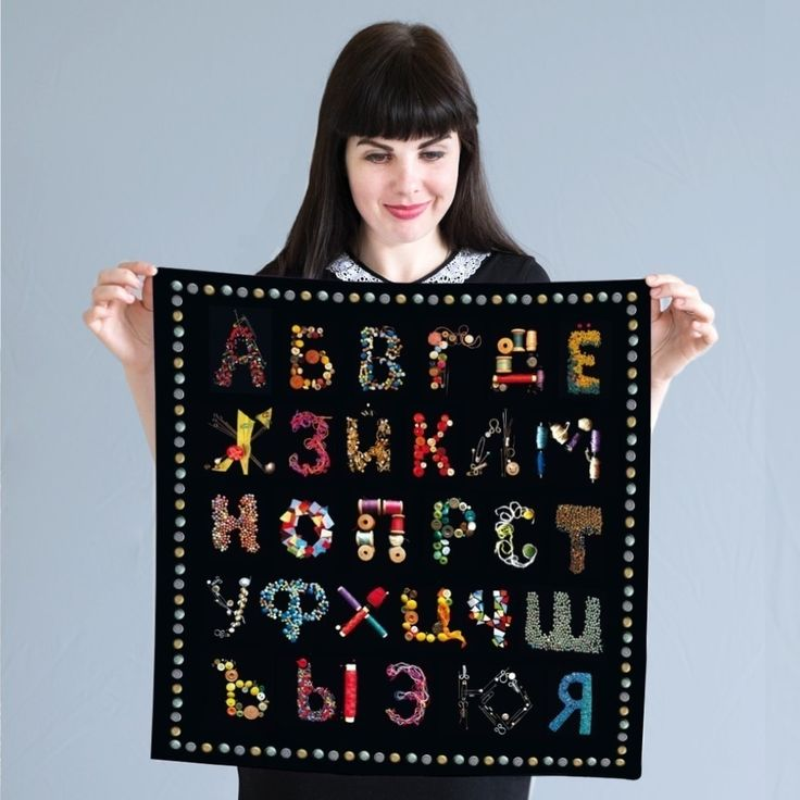 Silk scarf-calligraphy-accessories-fashion-alphabet-каллиграфия-платок-шелк