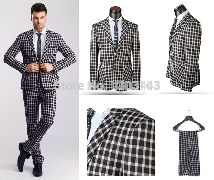 2016 New Western Style Mens Plaid Business Suits,XS-5XL Formal Suits,Homecoming Suits,Wedding Suits for Men Free Shipping