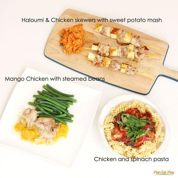 One bag of groceries, three simple meals. http://www.planeatplay.com/meals-from-a-bag/ #chicken #planeatplay #fromabag