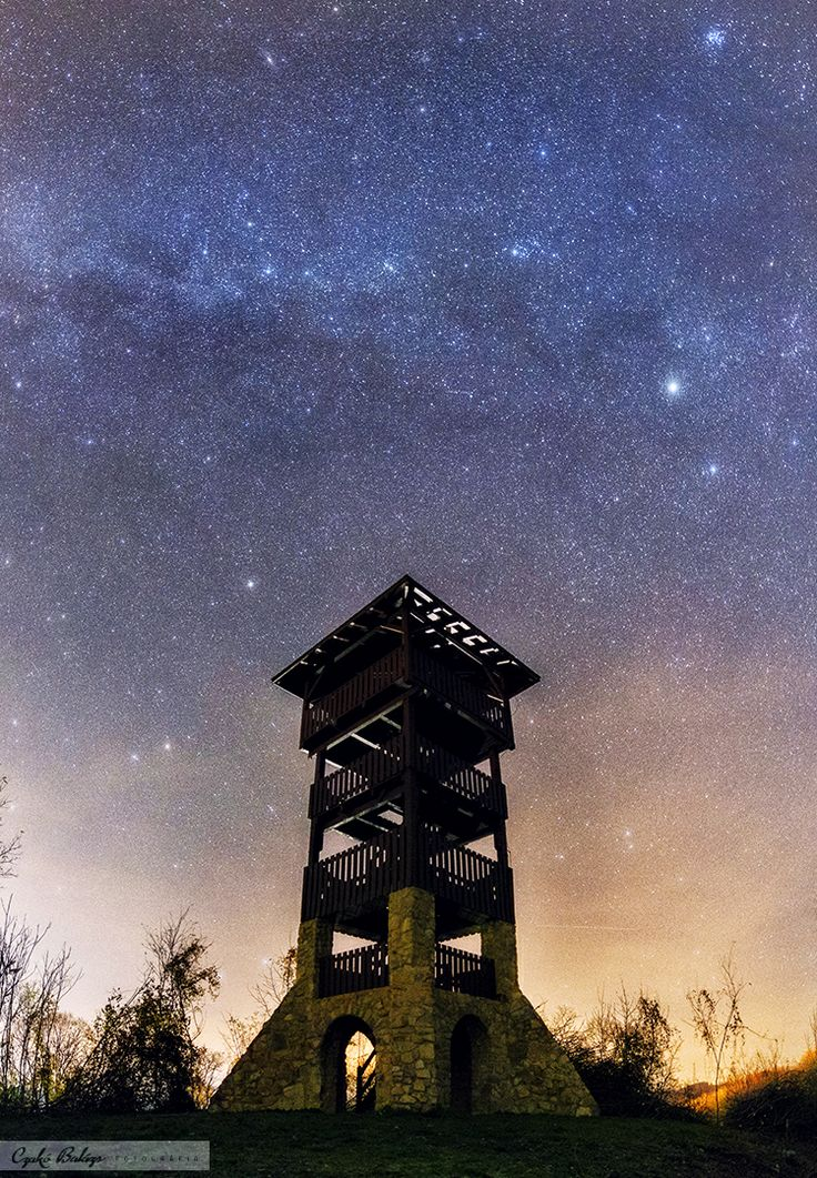 Part of the Milky Way over the Lookout Tower in Mecseknádasd.