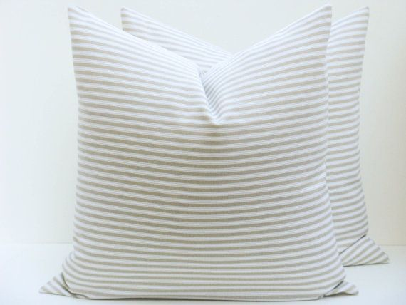 Decorative Throw Pillow Covers 16x24 Lumbar Cream Pillow Printed fabric front and back. Home Decor.Ticking Pillow Stripes