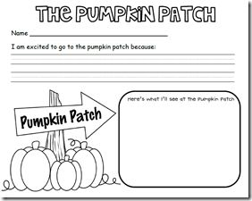 Writing activity for before and after class trip to pumpkin patch.  Freebie