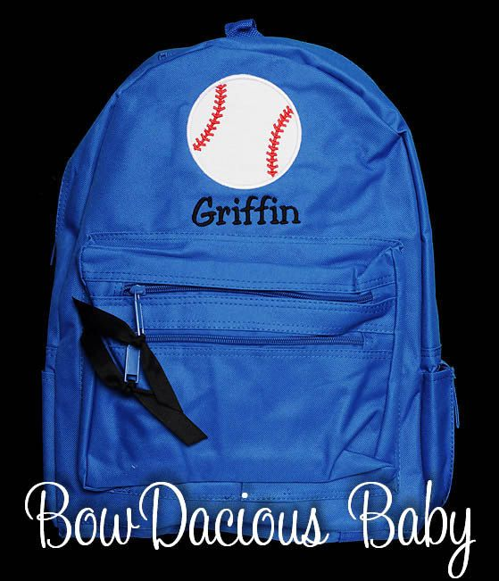 Boys Personalized Backpack Baseball Backpack by bowdaciousbaby