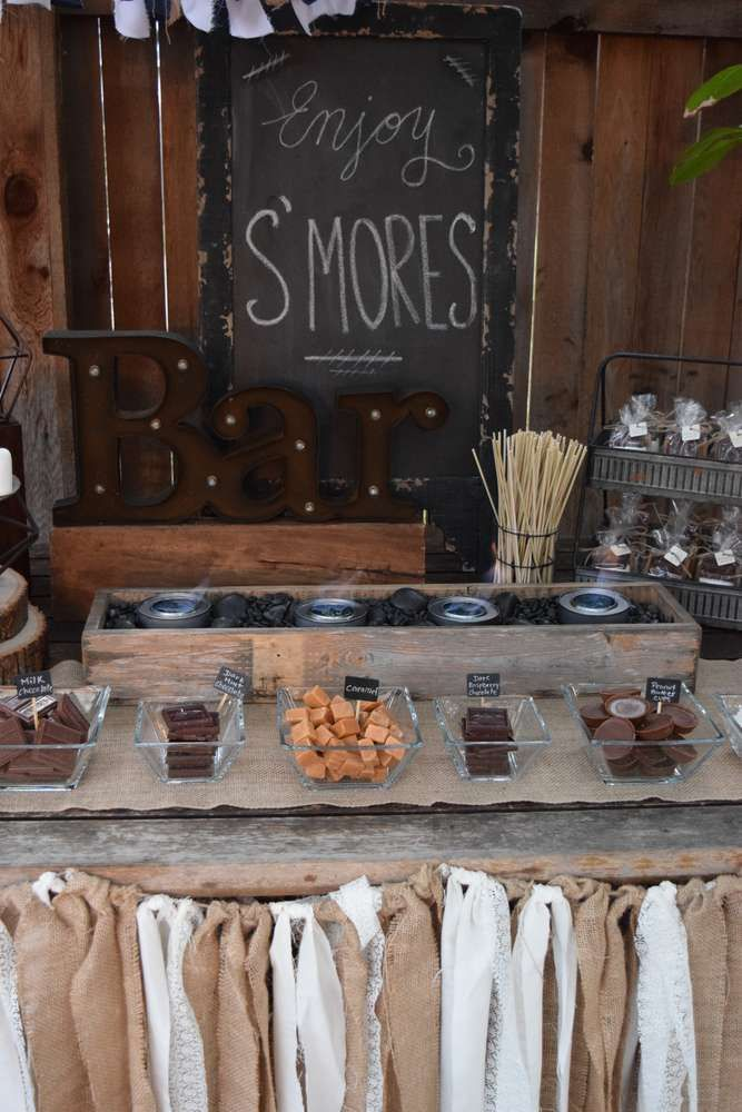 S'mores bar at a wedding party! See more party ideas at CatchMyParty.com!