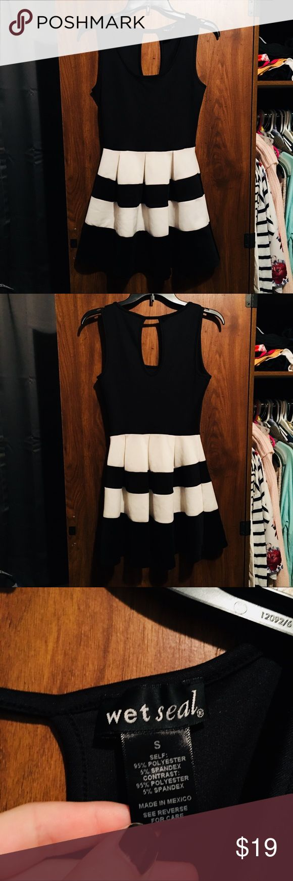 Striped formal dress Black and white dress • worn once • perfect condition • super soft material • fits small/medium Wet Seal Dresses Midi