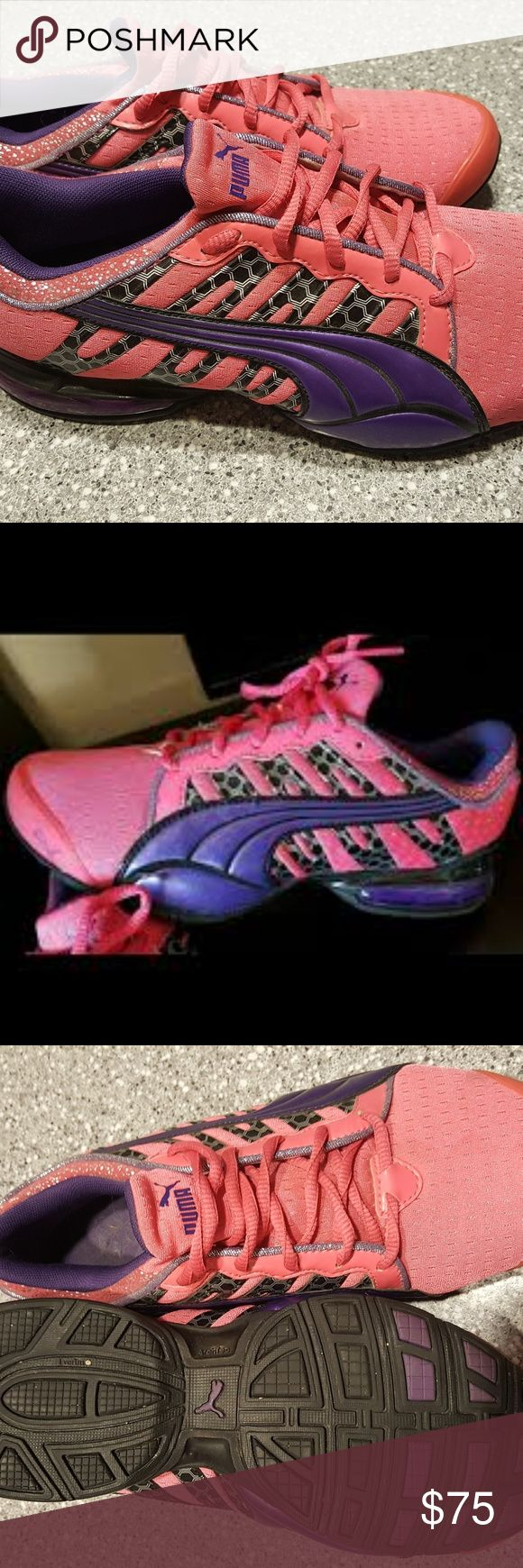 Women's sz 9 hot pink Puma tennis shoes Lightly used women's size 9 hot pink, purple and black puma athletic shoes. These are hard to find. Only wore them a couple times, minor signs of use! Paid $100 brand new! Puma Shoes Athletic Shoes