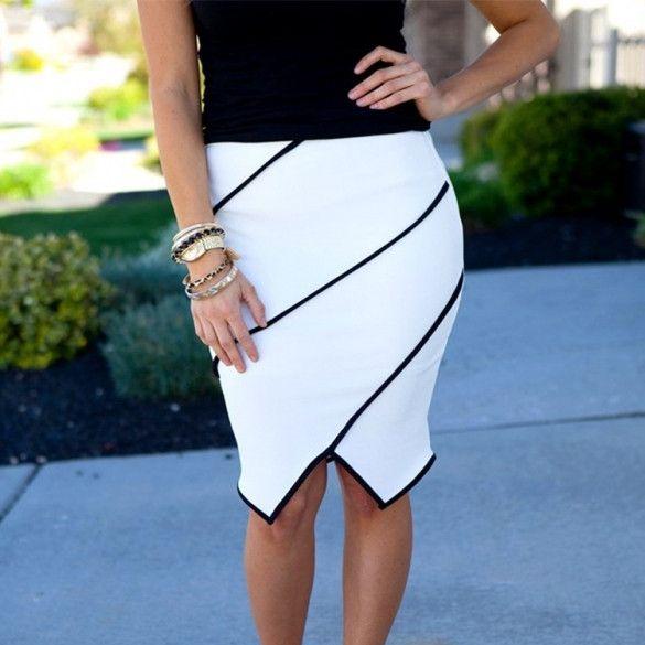 New Stylish Lady Womens Sexy Stretch Bodycon Patchwork Irregular Skirt