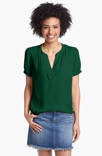 Pleione Pleated Split Neck Blouse available at #Nordstrom