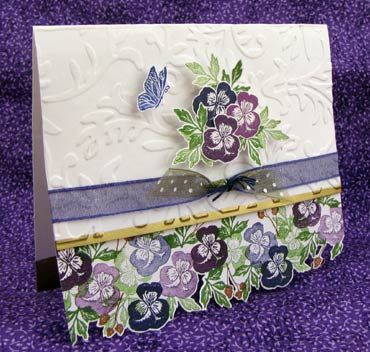 Rubber Stamp Tapestry-- Violet Border stamp set Papers - White card stock - 4-3/8 inches, folded at the 3-7/8 mark White card stock - 4-3/8 x 3-1/2 White card stock scraps for floral cut-outs Inks - Versacolor Grape, Neptune, Peony, Green Tea, and Bark