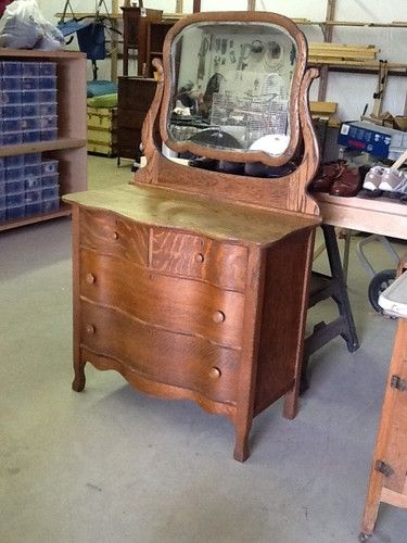 Antique Serpentine Tiger Oak Dresser With Beveled Mirror Ebay