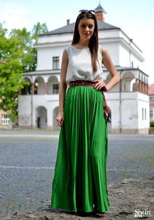 Falda cintura alta plisada maxi -verde Galería de estilos