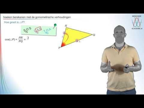 Filmpje waarin je stapsgewijs leert om de hoeken te berekenen (goniometrie- WiskundeAcademie). #wiskunde