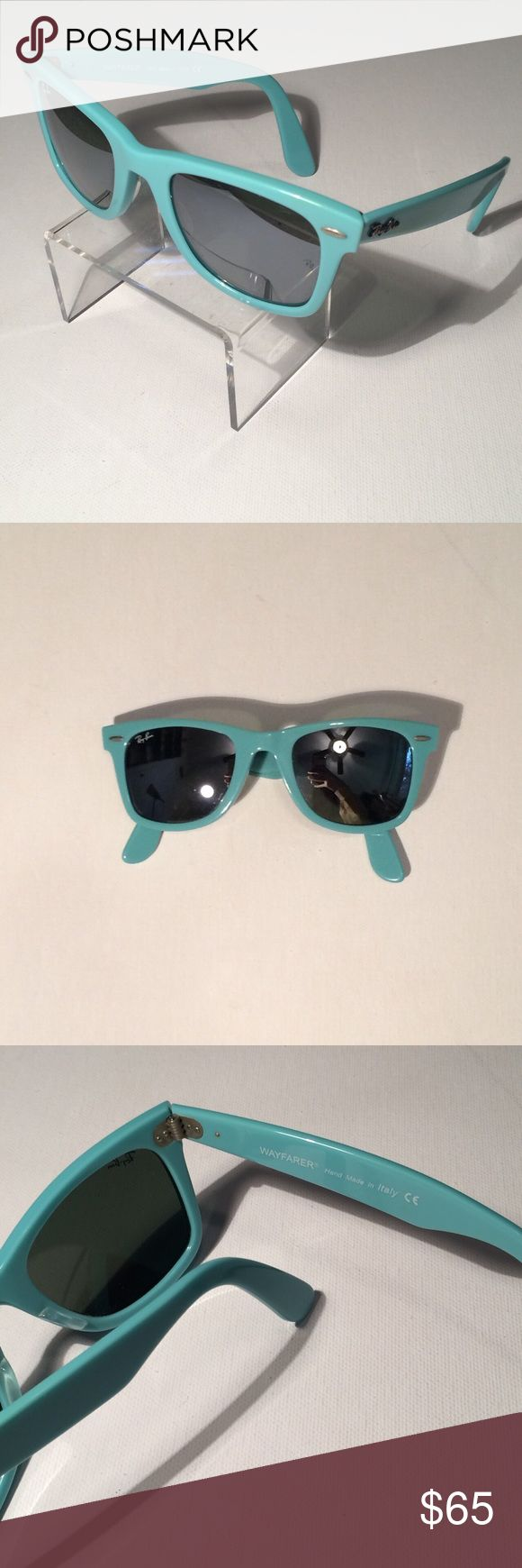 Ray Ban Wayfarer Sunglasses Light blue Ray Ban wayfarer sunglasses. In great condition. Ray Ban Accessories Sunglasses - Sale! Up to 75% OFF! Shop at Stylizio for women's and men's designer handbags, luxury sunglasses, watches, jewelry, purses, wallets, clothes, underwear
