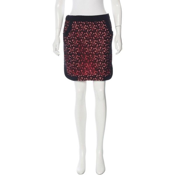 Pre-owned Sandro Lace Mini Skirt ($65) ❤ liked on Polyvore featuring skirts, mini skirts, black, lace skirts, short mini skirts, elastic waistband skirt, lacy skirt and sandro