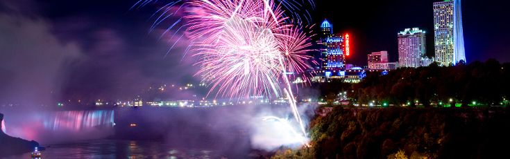 Fireworks over Niagara Falls at night.   Year after year, Niagara Parks hosts Canada's longest running fireworks series. 2016/17 Aura: Let it Glow, Falls Fireworks Schedule..