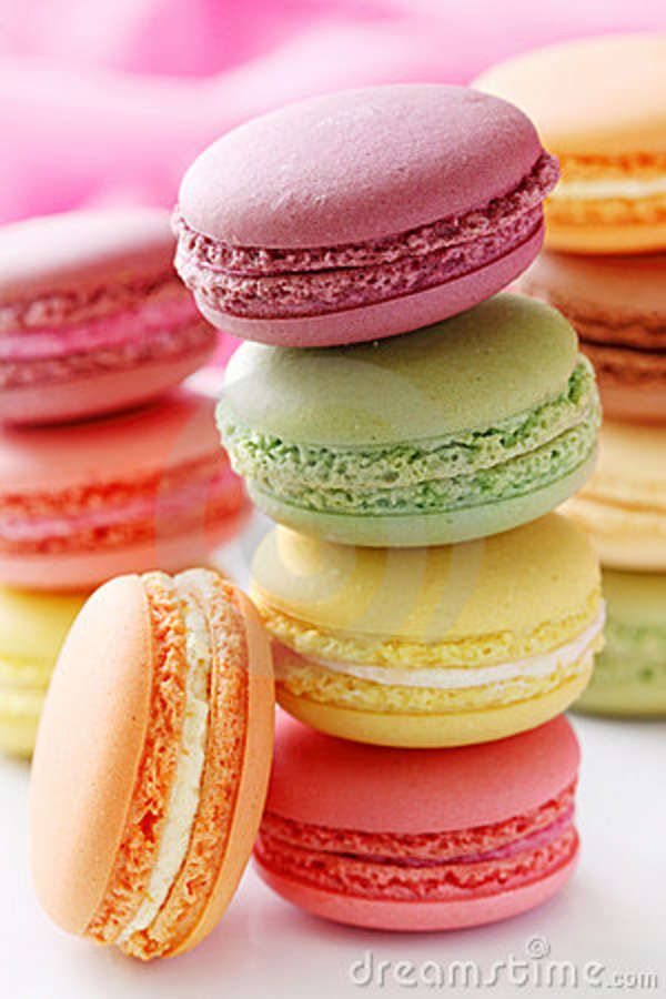 pastel-colored macarons