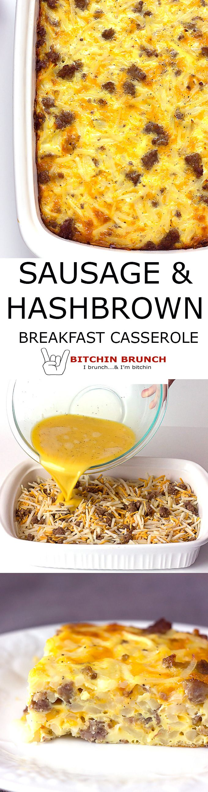Sausage Hash Brown Breakfast Casserole - Can be a make ahead breakfast casserole that you let rest overnight.  Or make it the morning you want it.  Simple shit!