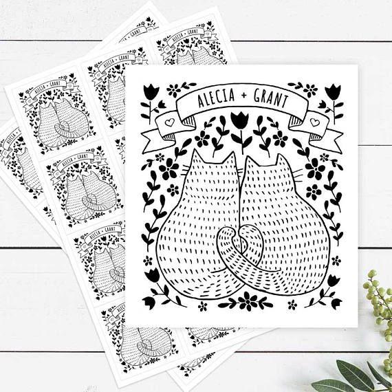Printed Personalised Sticker Labels Cat Wedding Bomboniere