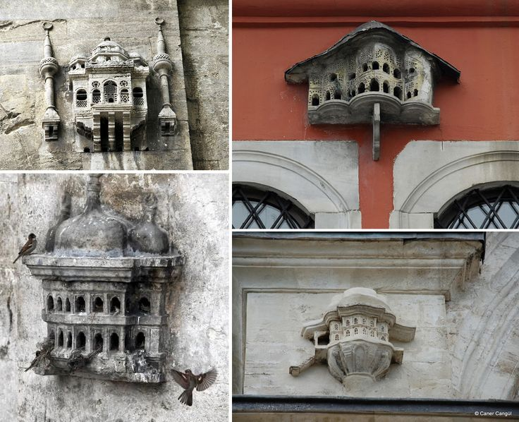 An important element of Ottomanarchitecture in Turkey was the addition of a birdhouses affixed to the outer walls of significant city structures, a safe space for regular avian guests to nest outside of mosques, inns, bridges, libraries, schools, and fountains. The birdhouses were not simple concre