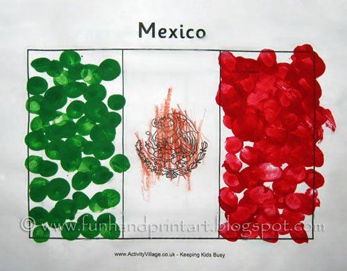 Fingerprint Flag of Mexico Craft - Bandera de México - Fun Handprint Art