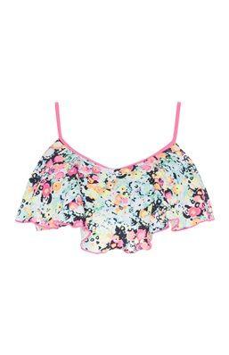Pinkes Bikinioberteil mit Blumendruck und Volant