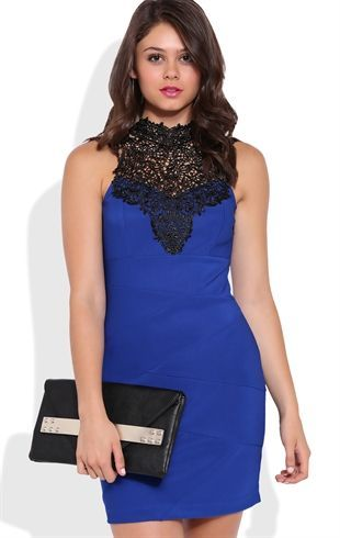 Deb Shops Bandage Bodycon Dress with Contrast Crochet Lack Neckline and Bow Back