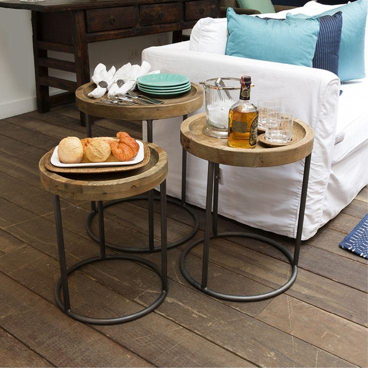 Conjunto de mesa lateral ninho redonda em madeira com base em metal, 3 peças 0,40x0,50m / 0,45x0,55m