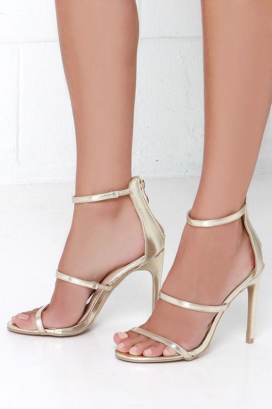 Three Love Gold Dress Sandals at Lulus.com!