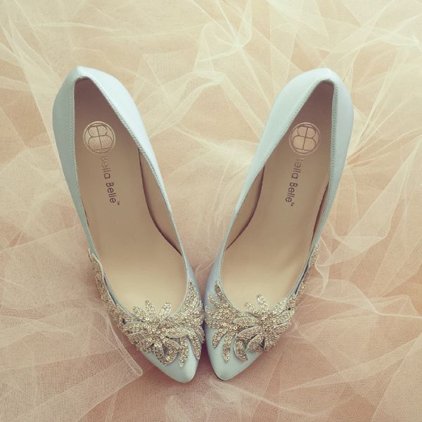 Light blue with silver glass crystal beadings wedding shoes / http://www.deerpearlflowers.com/24-chic-vintage-wedding-shoes-from-bella-belle/
