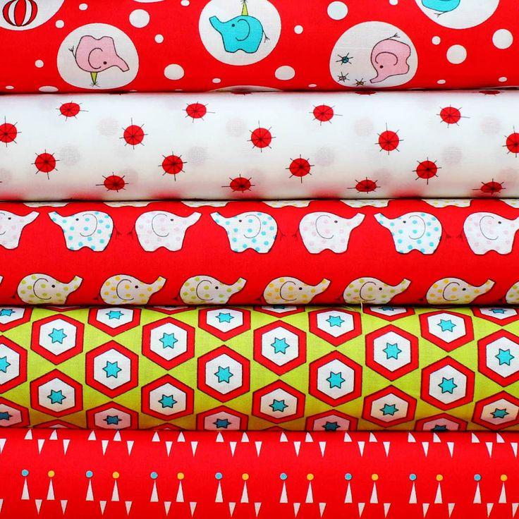 BACKYARD CIRCUS RED - FQ Bundle of 5 - Ella Blue Fabrics