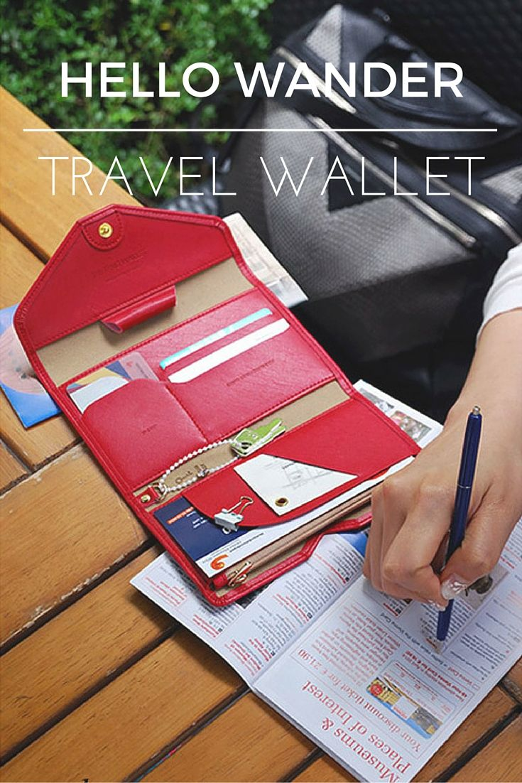Bring this travel wallet everywhere with you on your next trip!  Don't lose your pen when having to fill out forms and keep your passport, travel money and transit tickets in one safe place.   We have different colors available for you, check them out now!   Pin it for your travel organization! ♥  www.hellowander.co