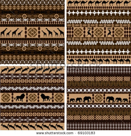 Four backgrounds with African motifs and animals - stock vector  Would be gorgeous knitted up in natural alpaca