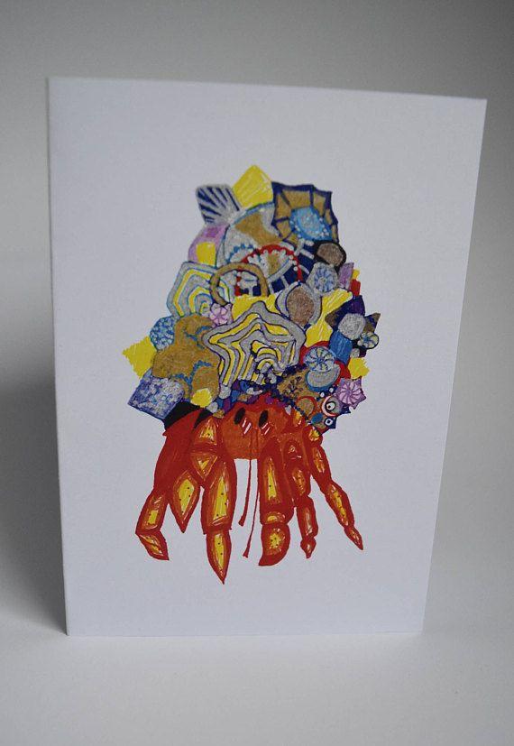 A6 Greeting Card: Crab. Blank Inside MelanieReevesArt Etsy