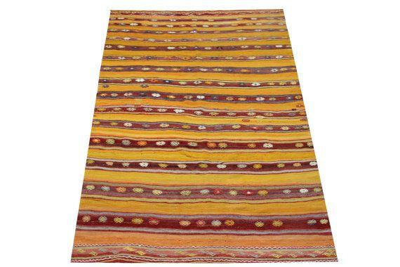 Turkish Antique Kilim rugs 88 x 49 Feet Anatolian by stripepattern