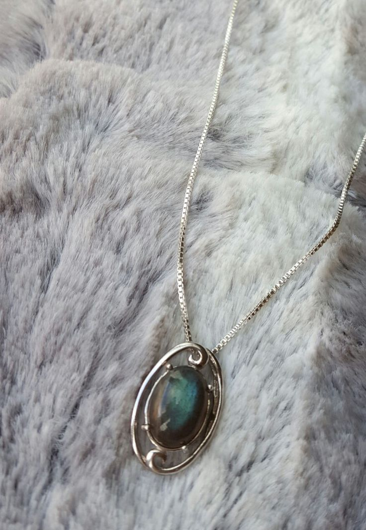 Beautiful Sterling silver Pendant with Genuine Labradorite Oval Gemstone on Sterling Silver Chain by MadiGDesigns on Etsy