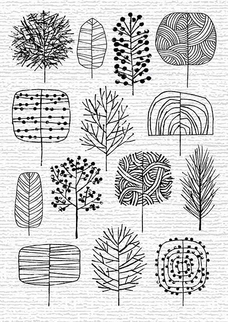 fun ways to draw trees -- drawing lesson