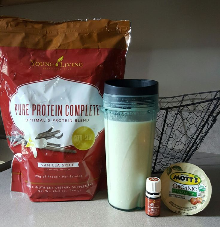Apple pie protein shake. 2 scoops of vanilla Young Living Pure Protein Complete 1/2 cup organic unsweetened apple cauce 2 drops of Young Living Cinnamon Bark Essential Oil 6 ice cubes 6oz water If you are interested in any of these Young Living products or any other essential oils visit yldist.com/bhock for more information!