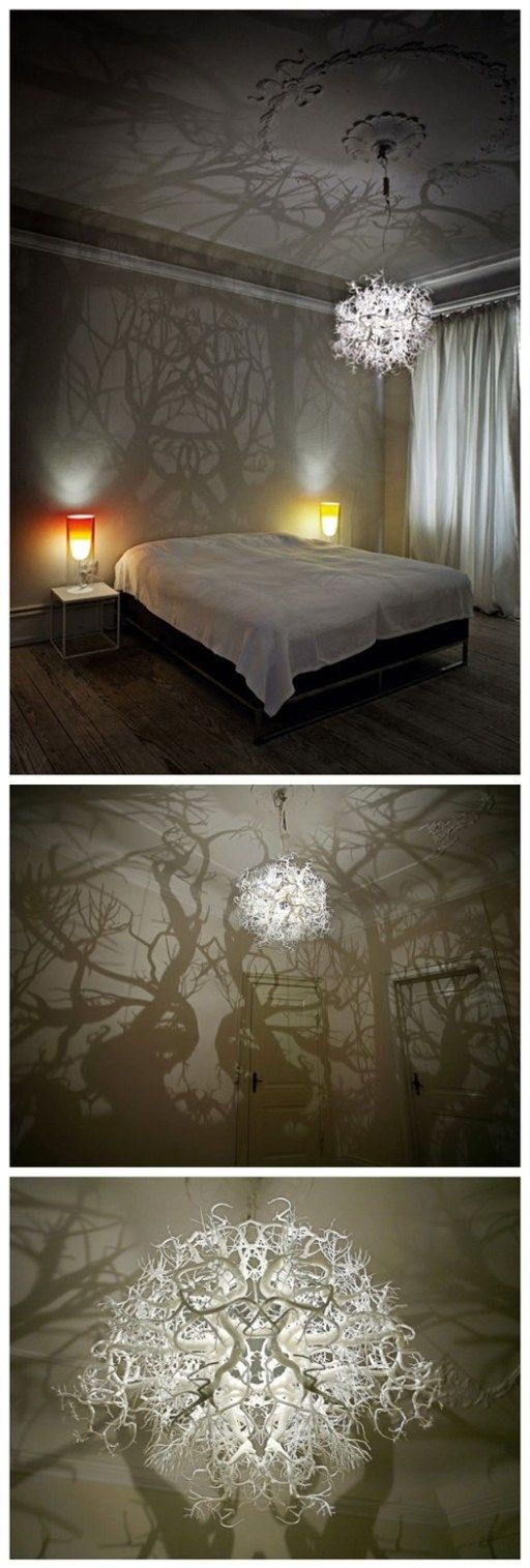 How to make forest inspired DIY tree branch shadow chandelier.
